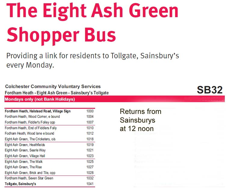 EAG Parish - Sainsbury's Monday bus